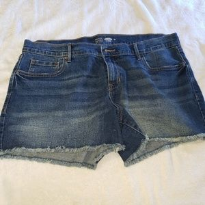 Old Navy semi-fitted stress blue jean shorts.